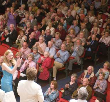 Christina applauds the RSNO after making her debut with them in the Grieg Concerto